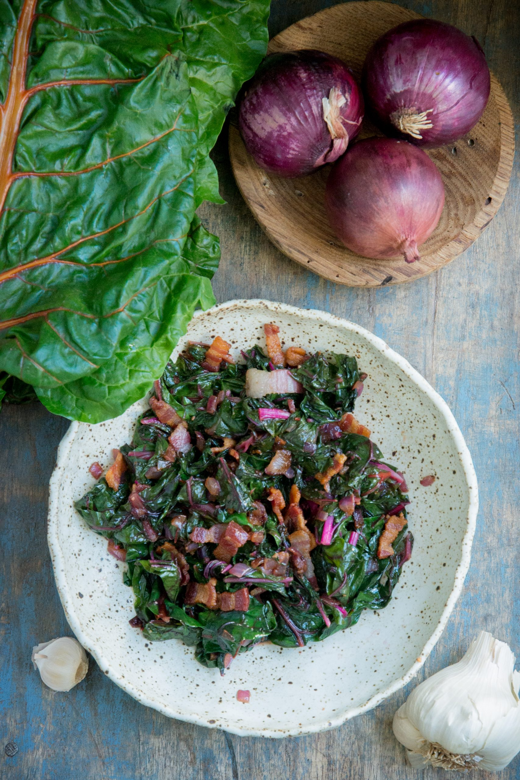 Swiss Chard with bacon and garlic overhead shot.