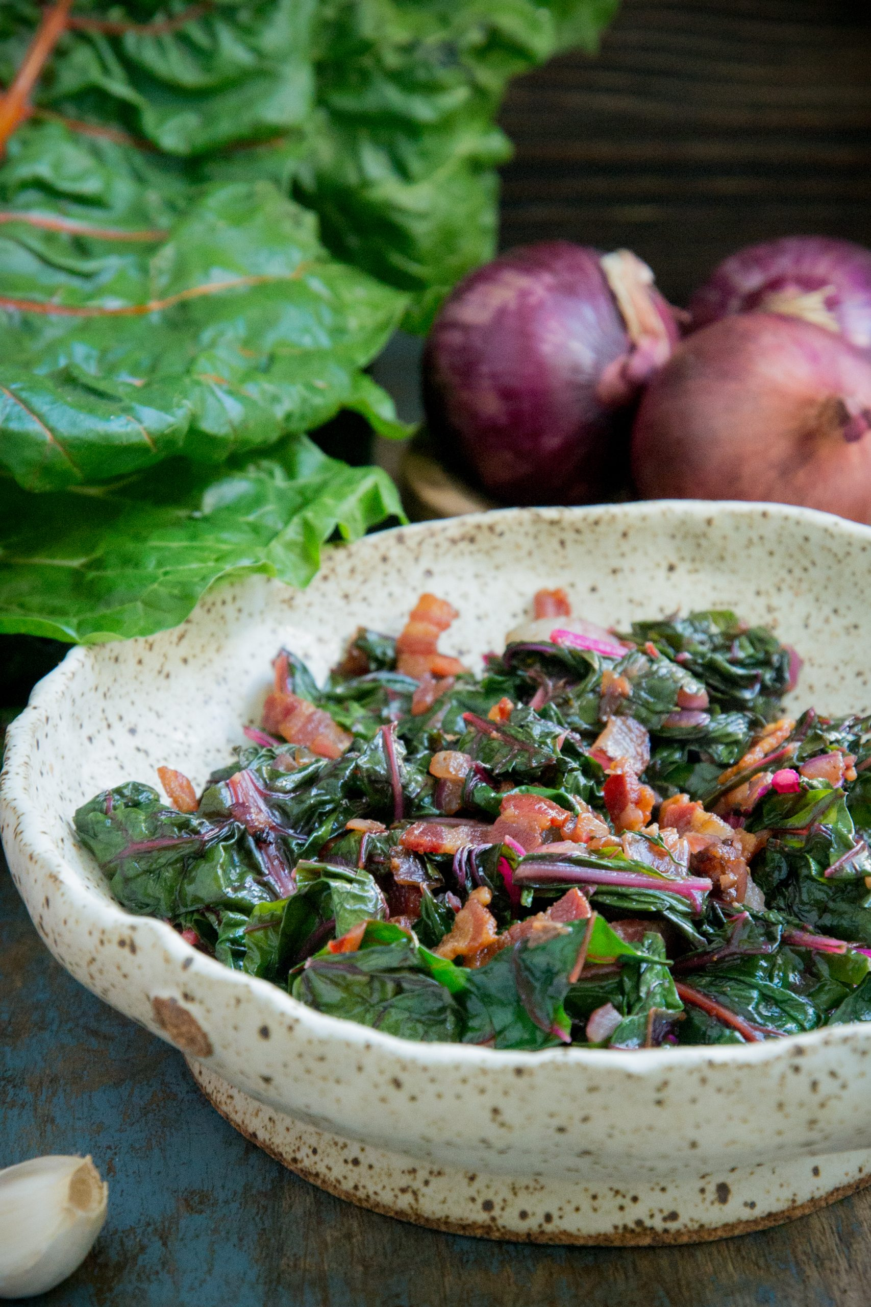 Wilted Swiss Chard in a serving bowl.