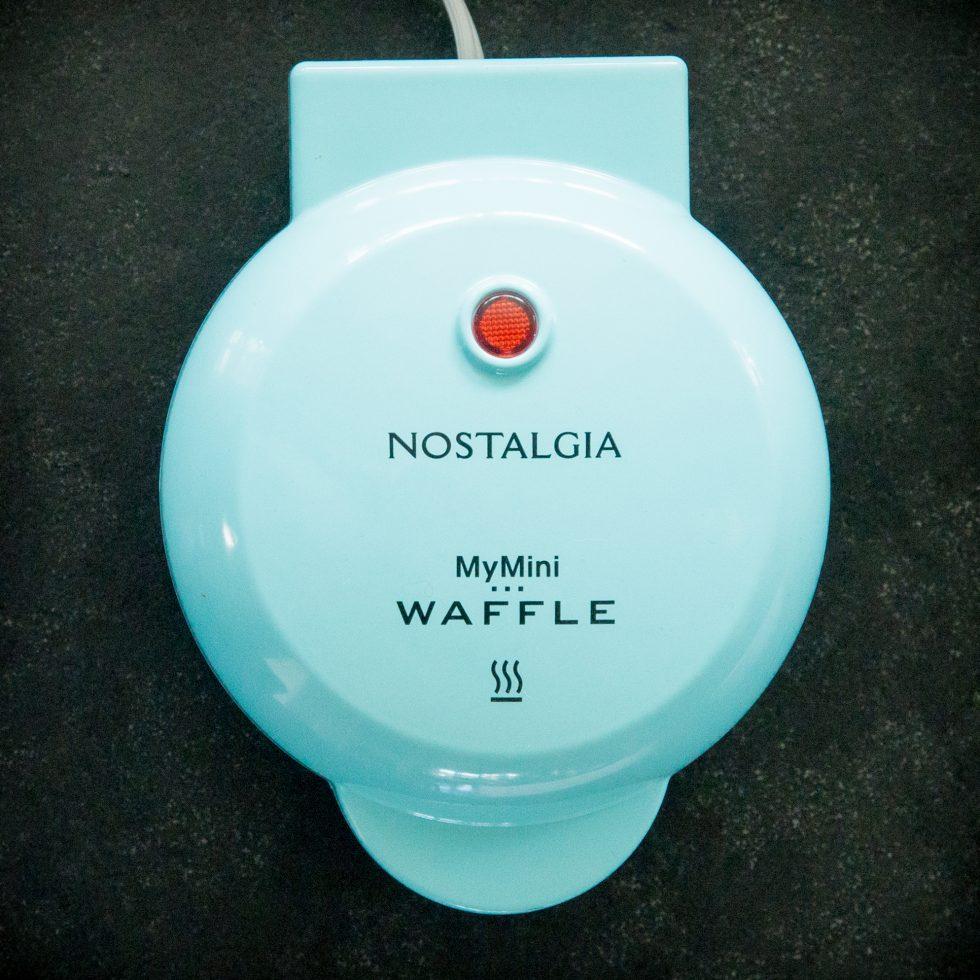 preheated mini-waffle maker.