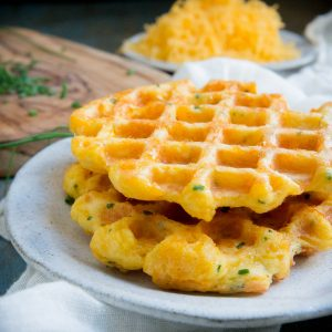 Cheddar Chive Chaffles--recipe image.
