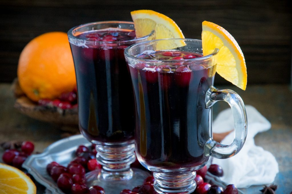 Two cups of mulled wine.