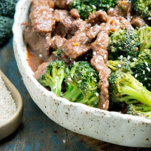 Keto Beef and Broccoli sprinkled with sesame seeds.