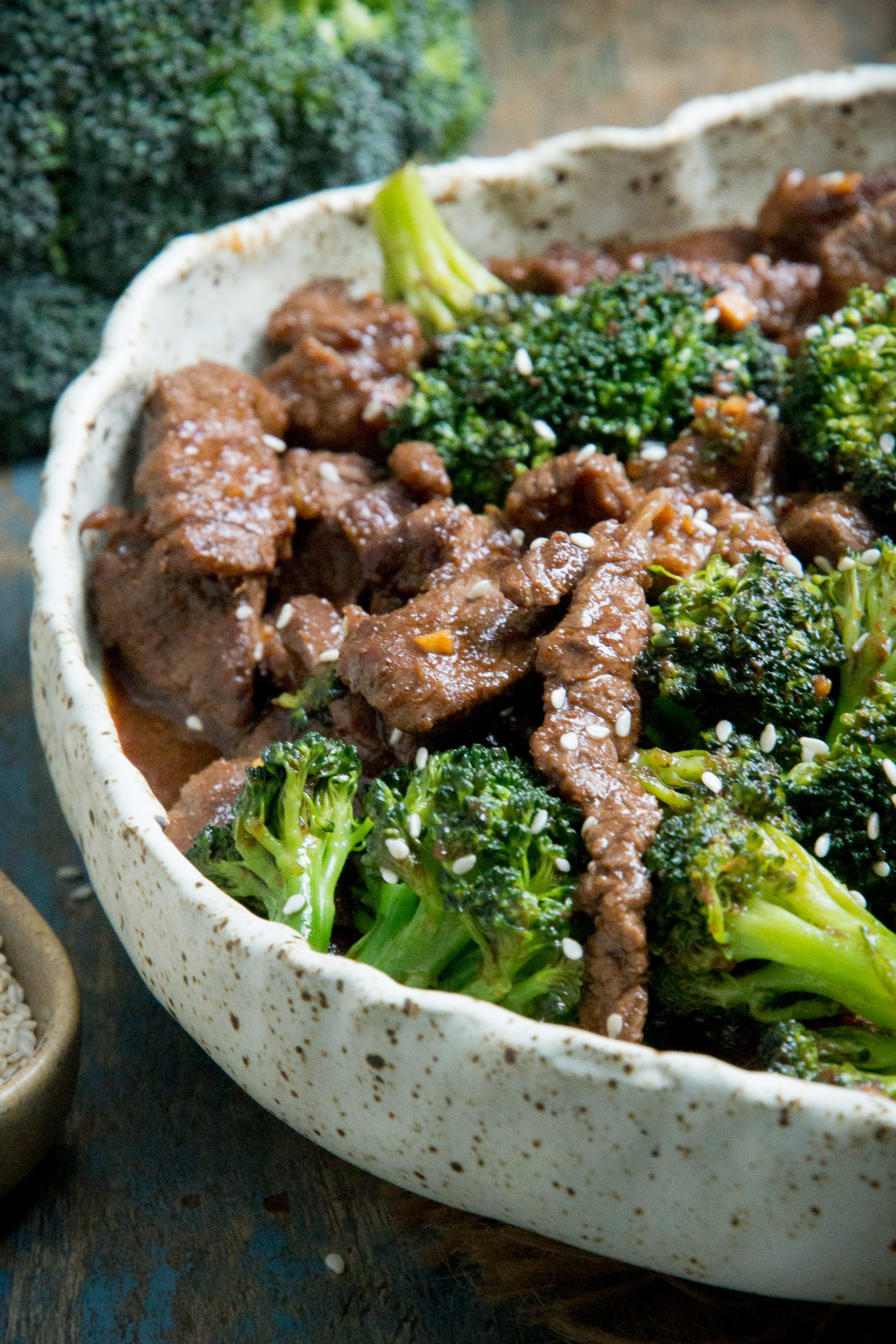 Close-up of keto beef and broccoli.