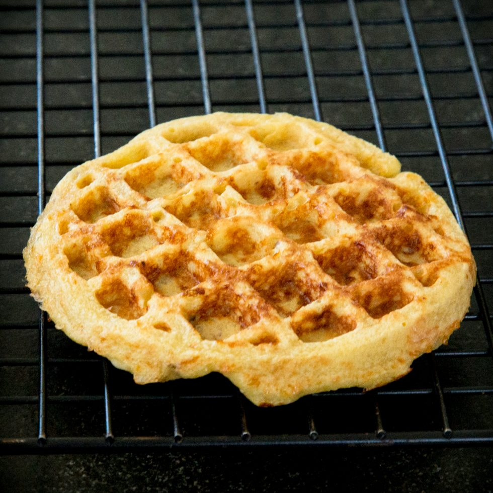 Cooling the chaffle on a cooling rack.