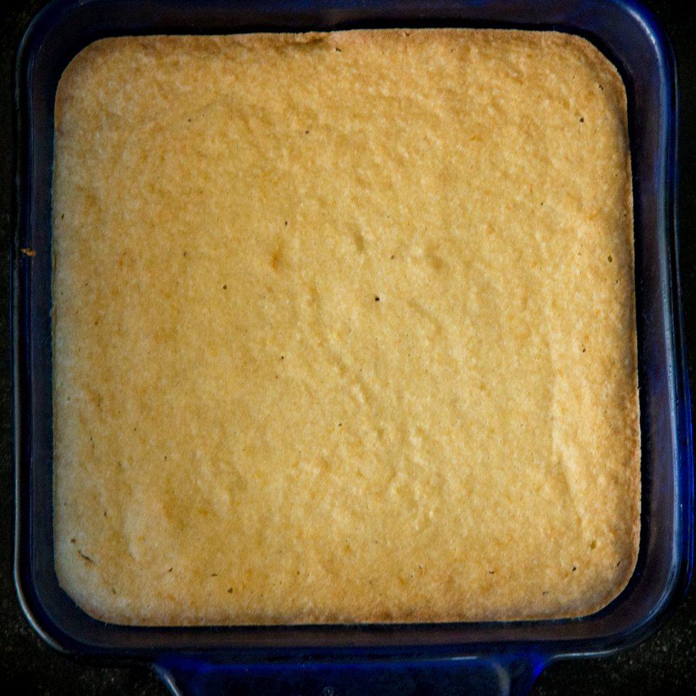 Baked keto lemon cake.