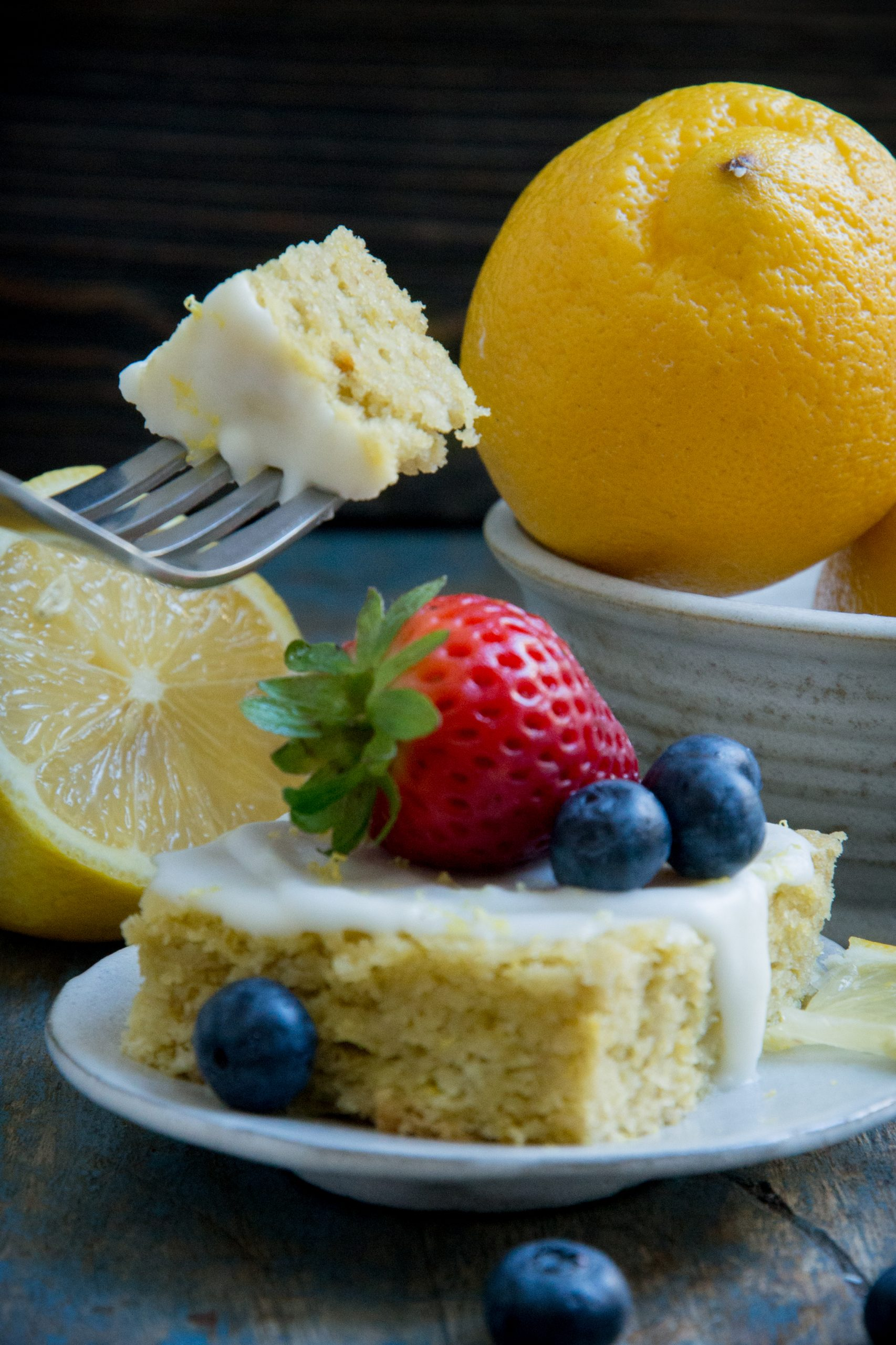 Taking a bite of the low-carb lemon cake.