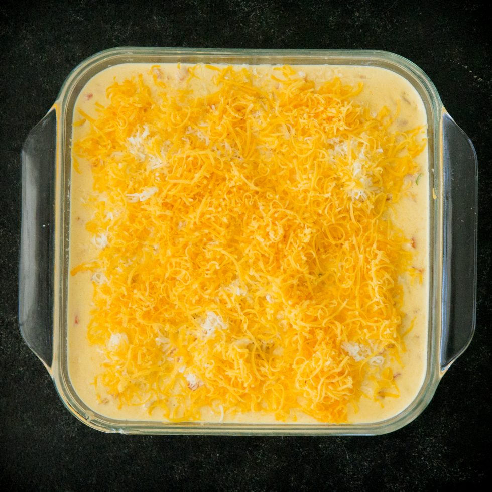 Casserole has cheese sauce and cheese on top.