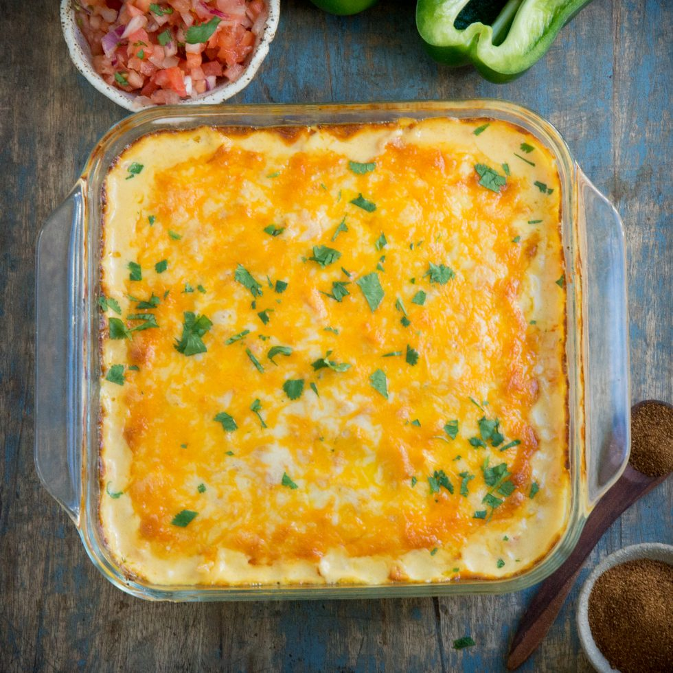 Baked casserole with cilantro on top.