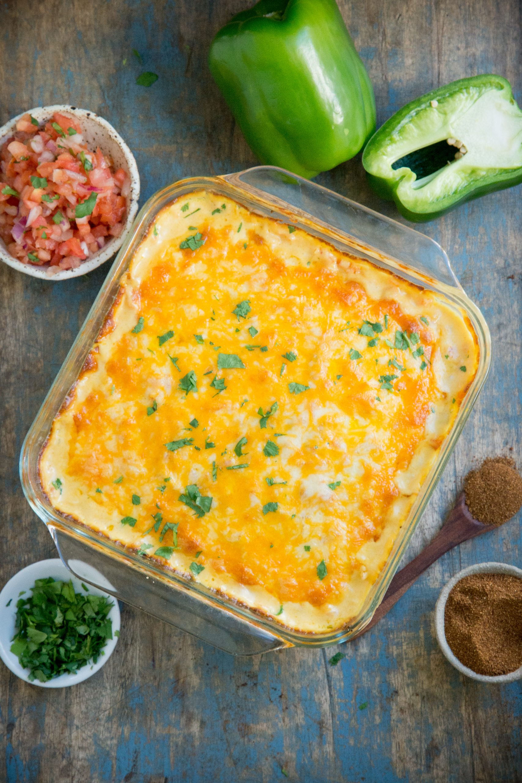 Keto Mexican Chicken Casserole fresh from the oven.