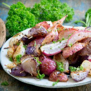 Keto Rosemary Garlic Roasted Radishes.