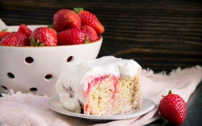 Low-Carb Keto Strawberry Poke Cake