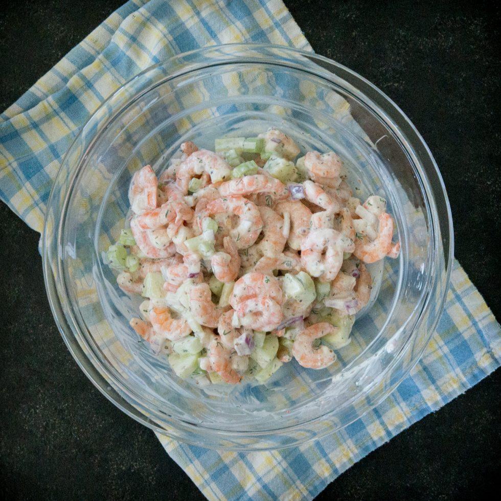 Completed keto shrimp salad.