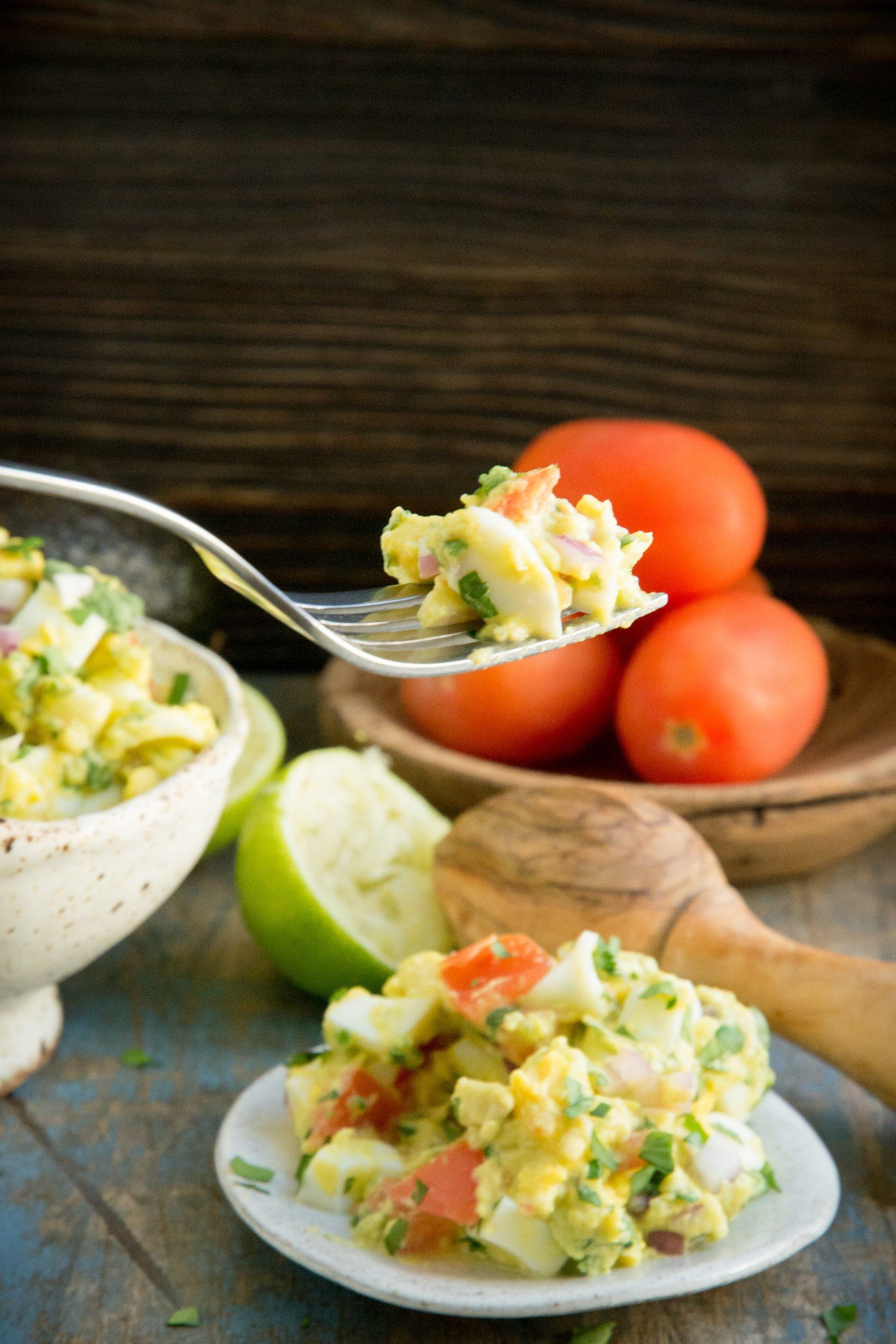 Taking a bite of Avocado Egg Salad.