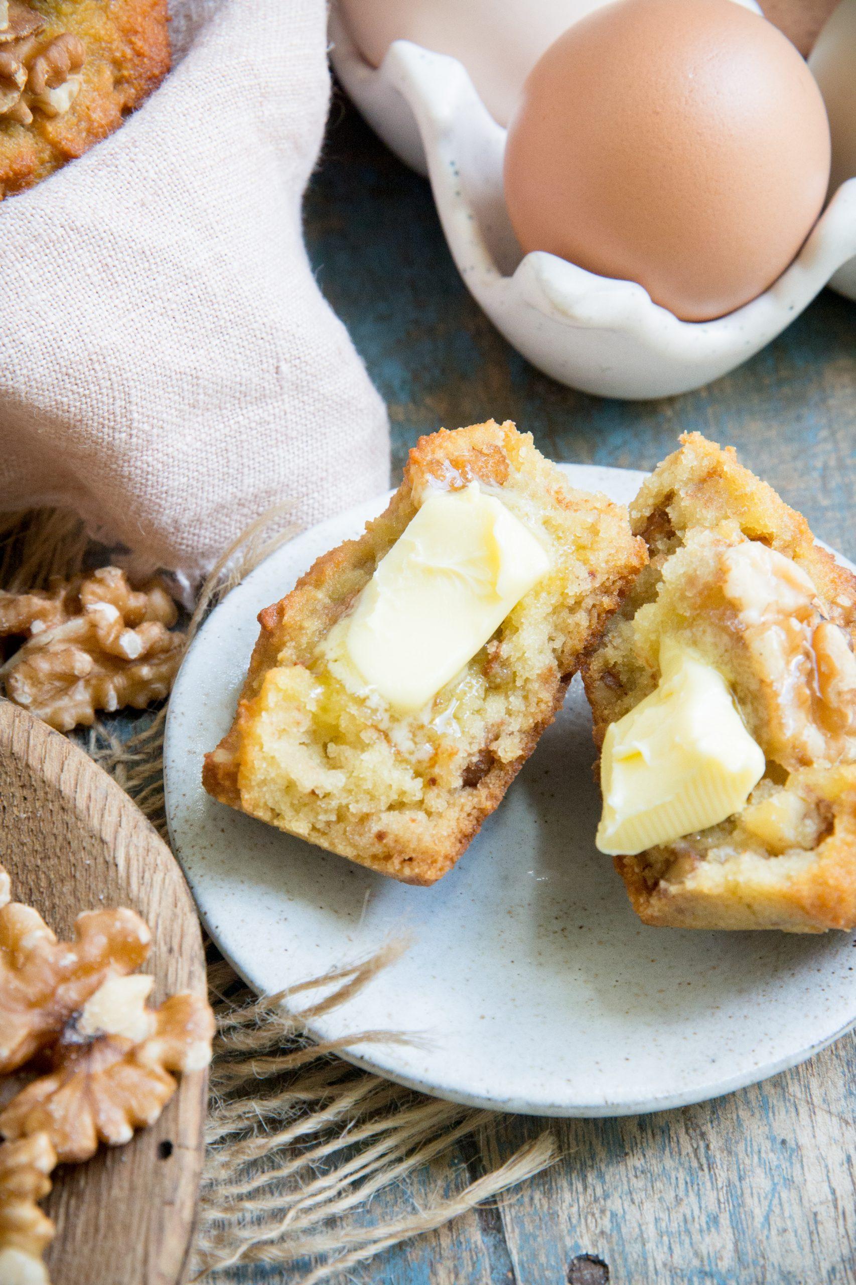 Melting Butter on the keto banana nut muffins.