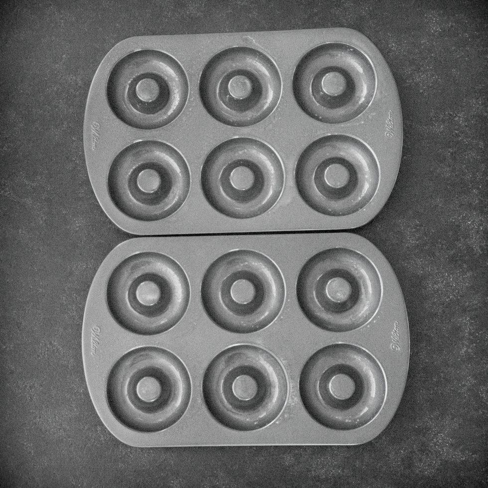 Sprayed donut pans.
