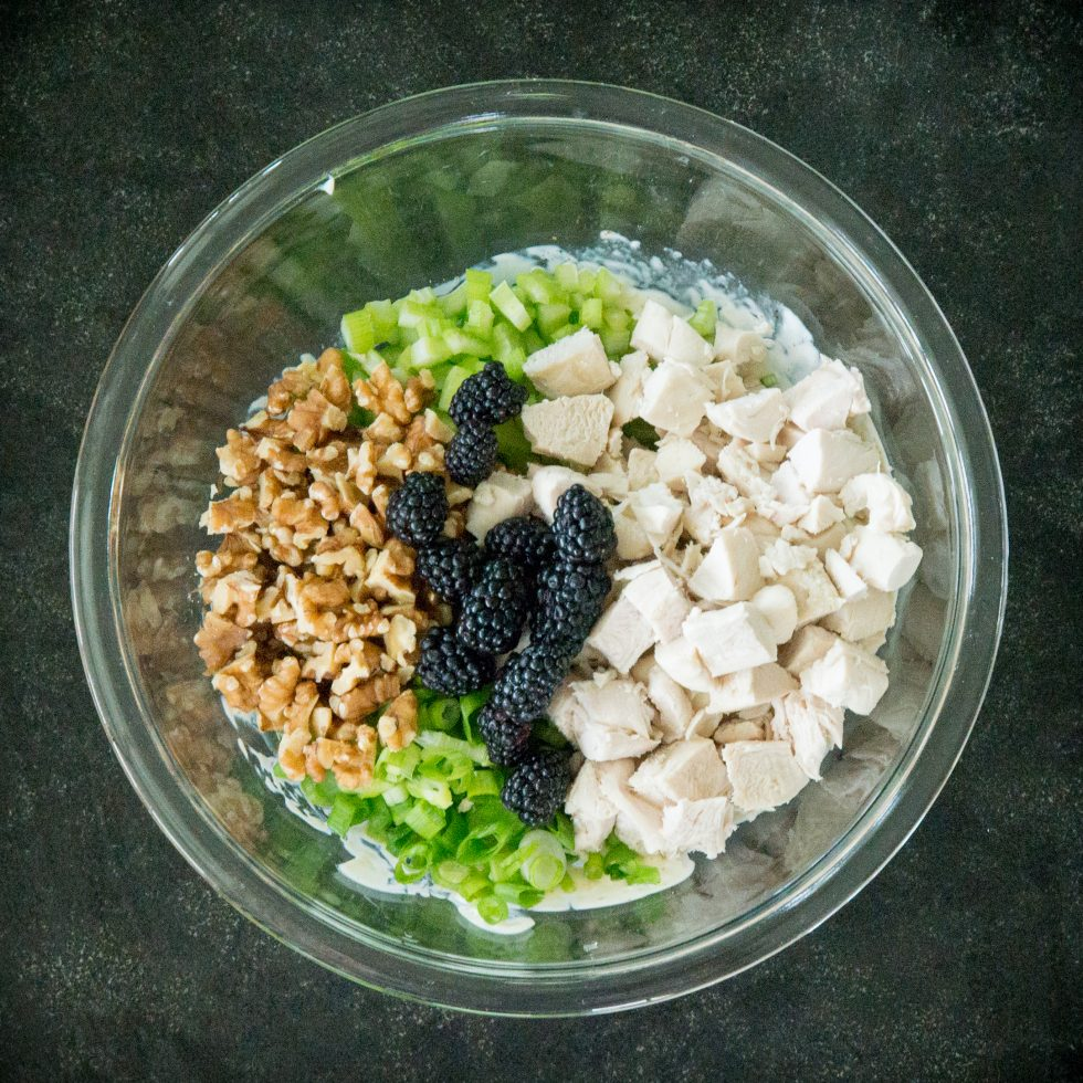Adding the chicken, berries, nuts, green onions and celery to the salad.