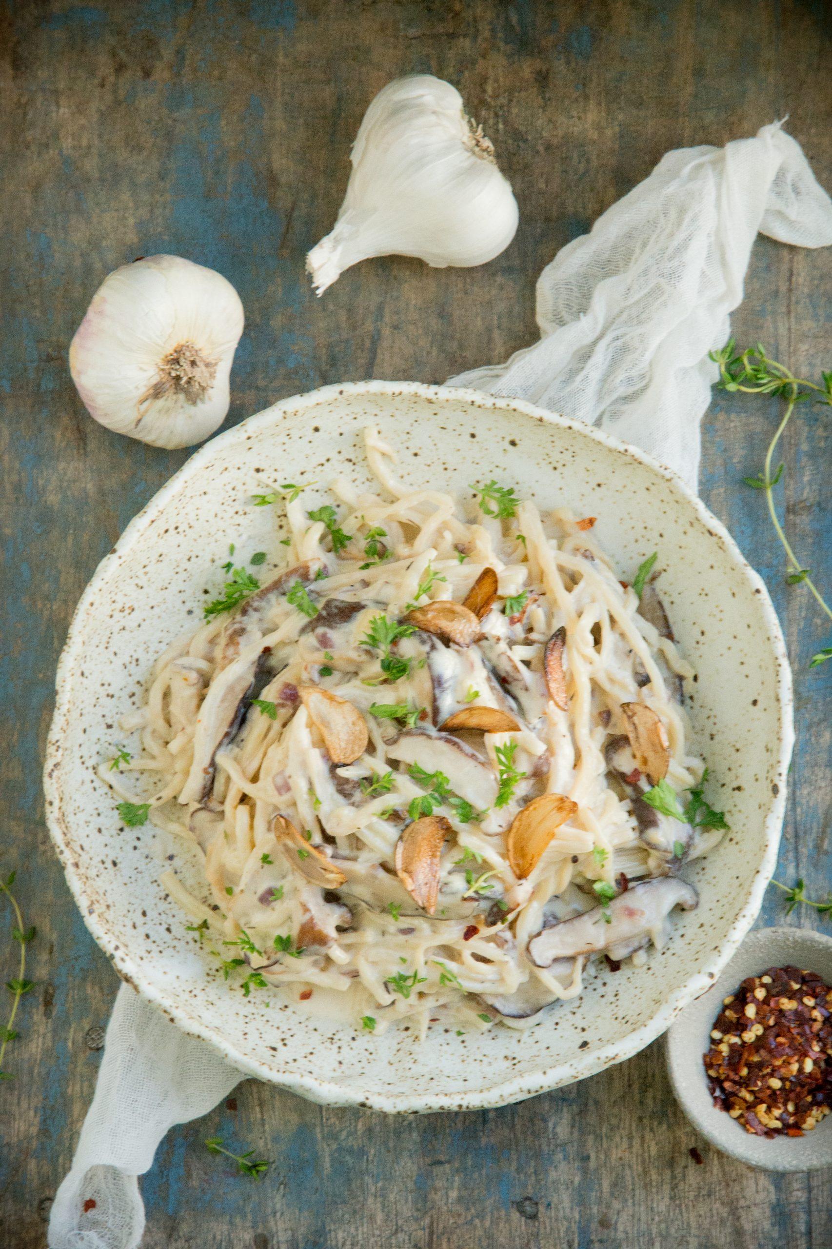 Mushroom pasta in a serving dish.