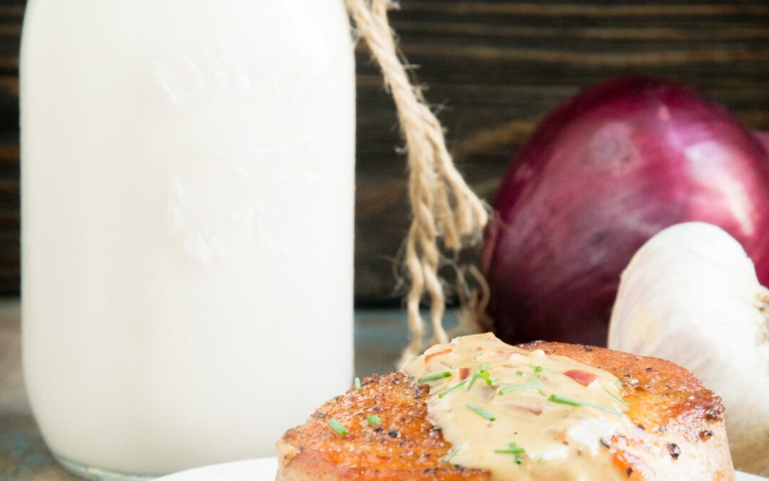 Keto Pork Chops with Garlic Chive Cream Sauce