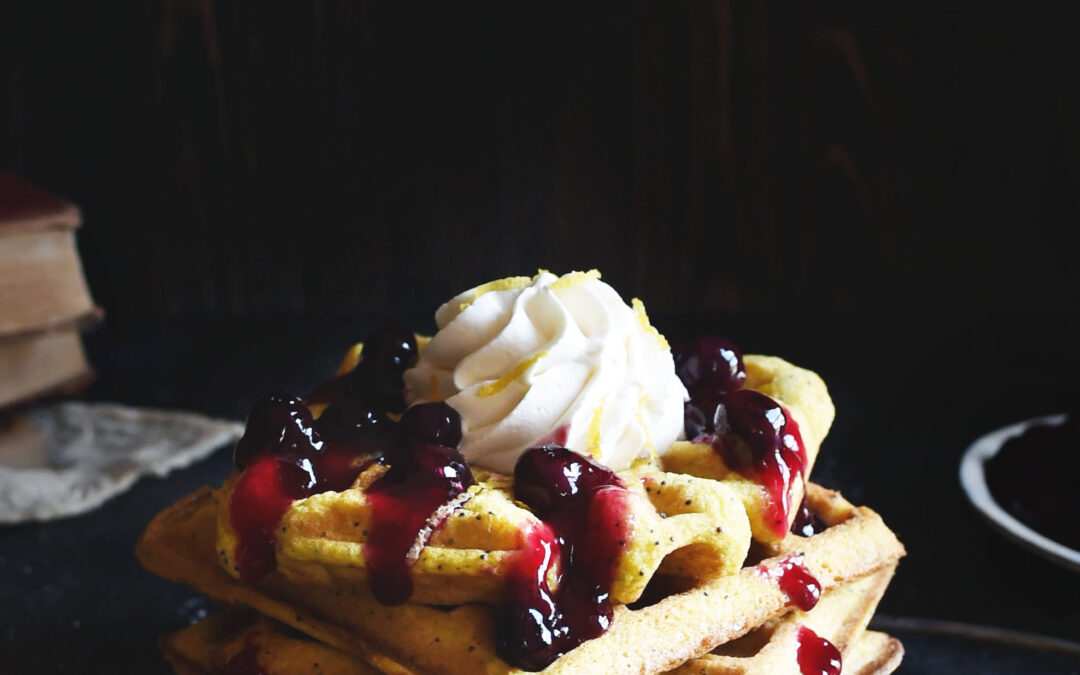 Low-Carb Blueberry Lemon Poppyseed Waffles